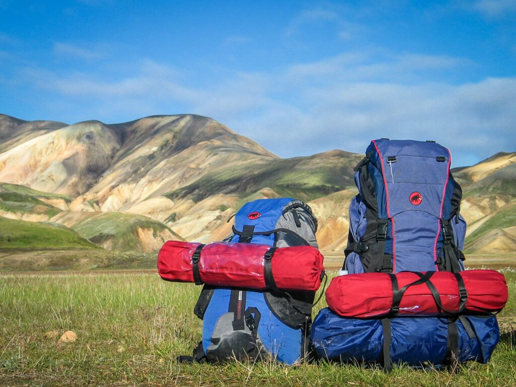 two backpacks in outdoors