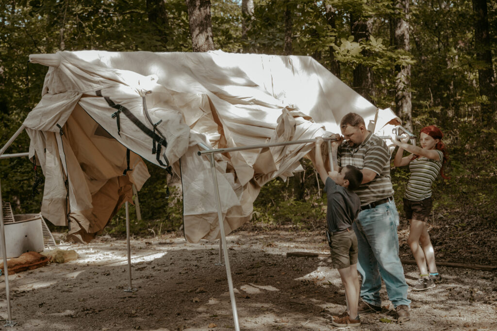 setting up wall tent