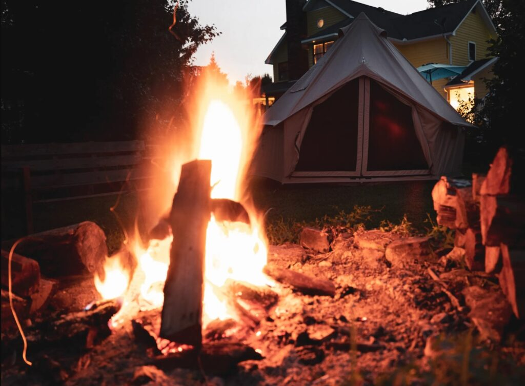 glamping tent campfire outdoors canvas tent glamping