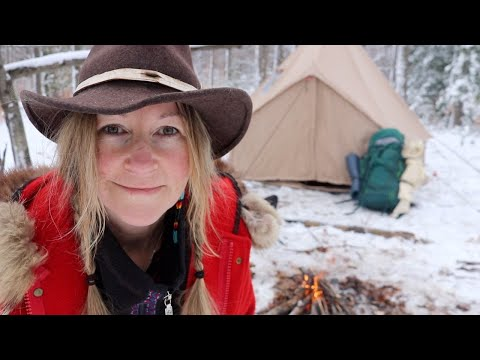 wall tent camping in winter